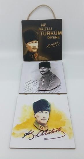 Poster , Askılı 3 Tahta Parça( Atatürk ) resmi