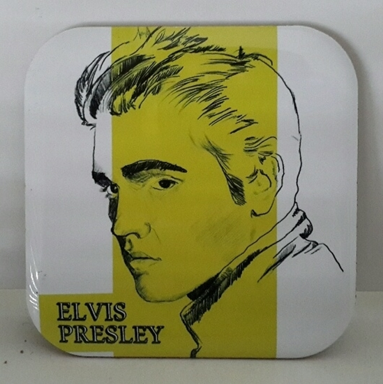 Metal Bardak Altlığı - arkası mantarlı ( Elvis  ) resmi