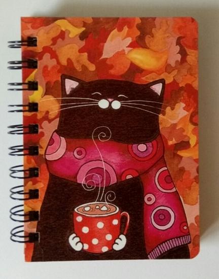 Tahta Kapaklı Elişi Defter ( Kırmızı Fincanlı Kedi  ) resmi